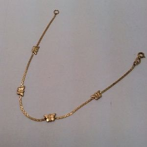 14K  YELLOW REAL GOLD Solid Butterfly Lady bracele